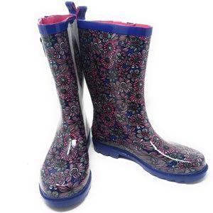 Women's Rubber Mid Calf Rain Boots, #3155, Blue